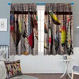 """Fishing Blackout Window Curtain Lure Rods Fisherman Gifts Special Impressive Design for Fisherman Creative Exceptional Customized Curtains 52""""x63"""" Taupe Yellow Red Green Navy"""