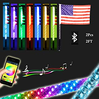 2Pcs 2FT LED Whip Light with Bluetooth Control -360°Spiraling Rising Dancing flag Offroad Warning Lighted LED Whips LED Antenna Light for UTV, ATV, Off Road, Truck, Jeep, Sand, Buggy Dune, RZ