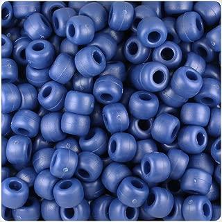 BeadTin Navy Blue Matte 9mm Barrel Pony Beads (500pcs)
