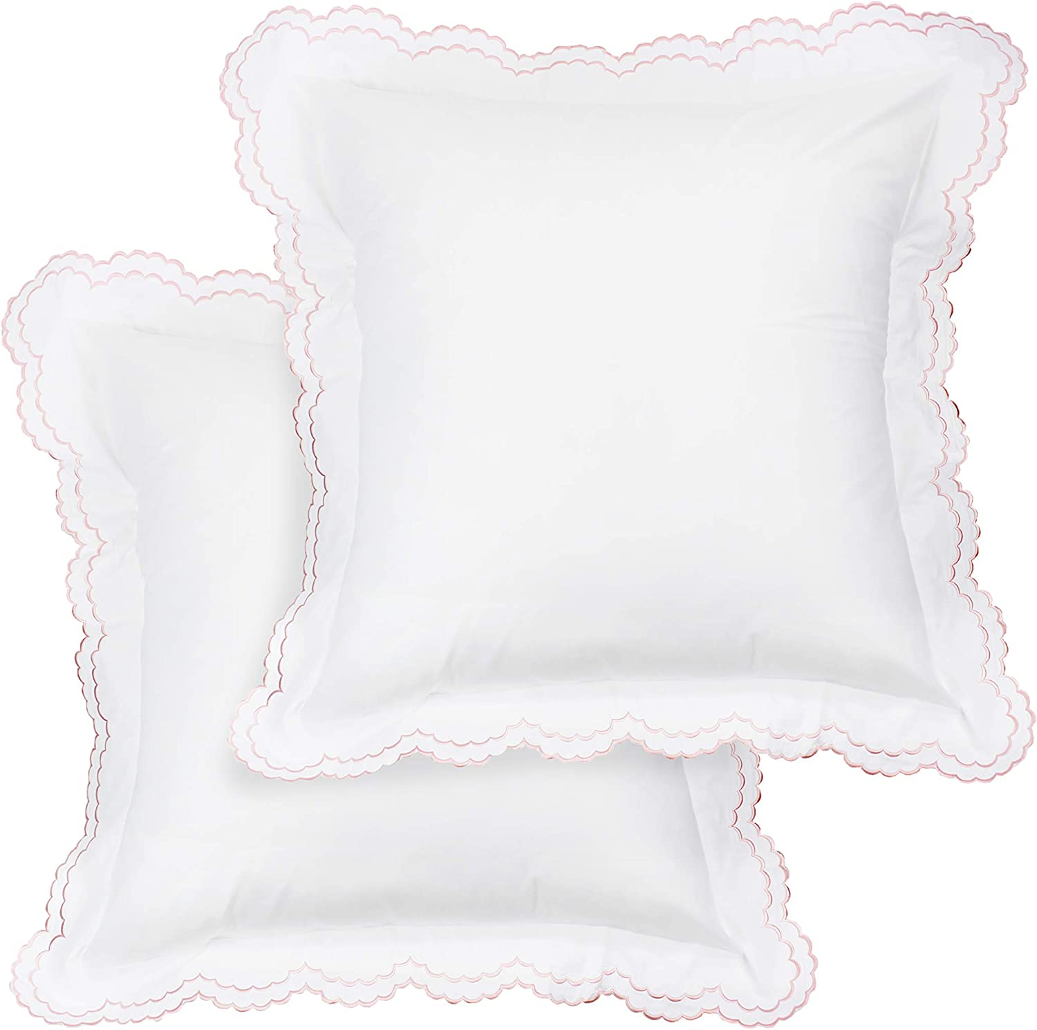 Melange Home Percale Cotton Double Scalloped Embroidered Euro Sham Pair, Cover, Pink on White