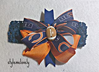 Chicago Bears Baby Girl Boutique Bow Crocheted Headband- Fits newborn- adult