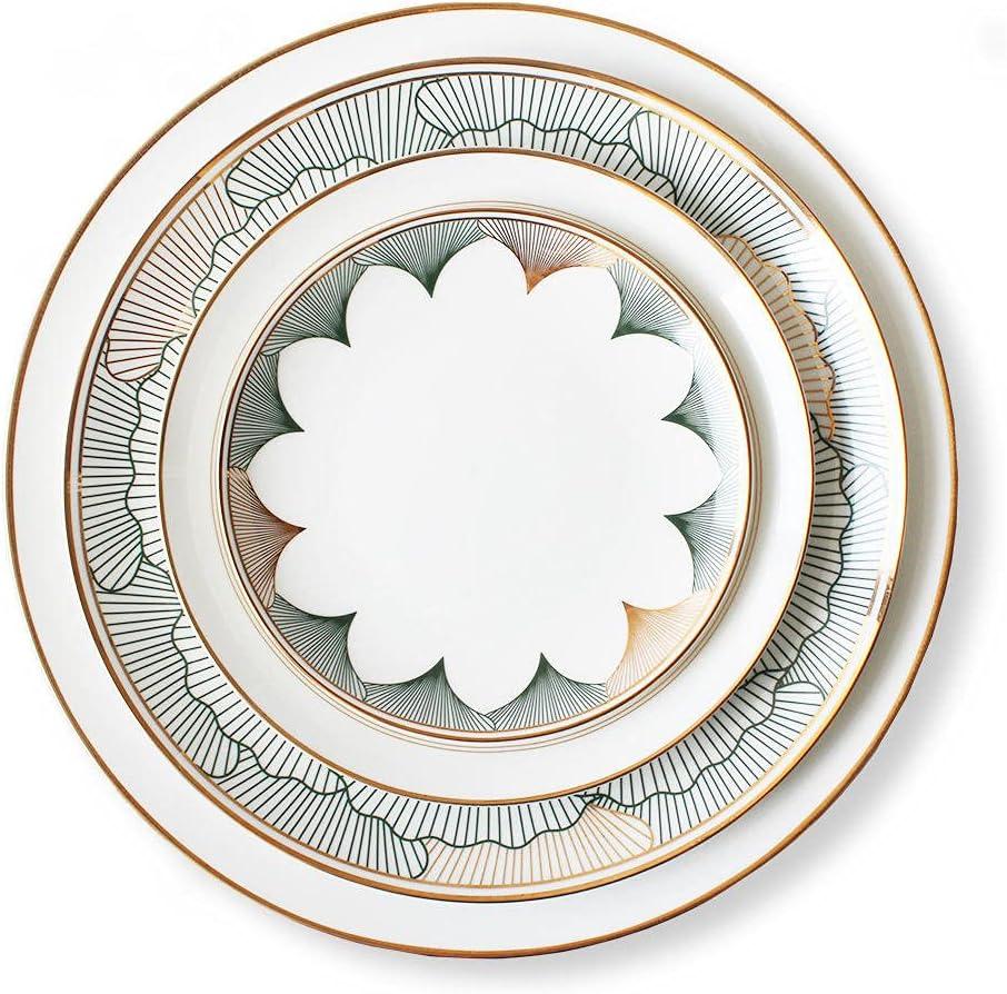 Superlatite Dinner Plate Set of 4 supreme Personality Retro Simple Hand-Printed Phn