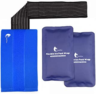 Gel Ice Packs for Injuries (2-Piece Set) with Adjustable Wrap, Reusable Hot or Cold Pack for Shoulder, Knee, Arm, Neck, Elbow, Back, Ankle, Therapy & More