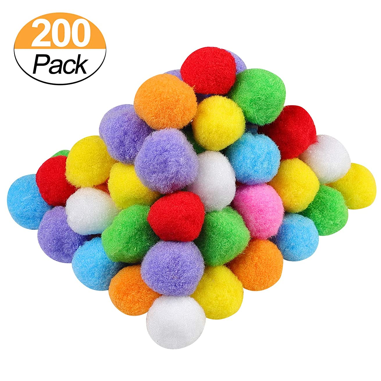 1.5 Inch Assorted Pom Poms for DIY Creative Crafts Decorations, Assorted Colors (200 Pack)