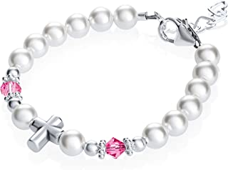Baptism Sterling Silver Cross Bead with Swarovski White Simulated Pearls Pink Crystals Baby Bracelet (BSCHP)