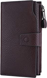 Women's Wallet RFID Blocking Large Capacity Luxury Wax Genuine Leather Wallet Card Holder Clutch Organizer Ladies Purse