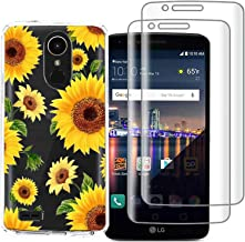 (3 in 1) for LG Stylo 4 Case + (2 Pack) Glass Screen Protector Slim Clear Soft TPU Silicone Phone Case Cover with (Sunflower) for LG Stylo 4 Plus, LG Q Stylus