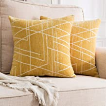 MIULEE Pack of 2 Decorative Throw Pillow Covers Woven Textured Chenille Cozy Modern Concise Soft Square Cushion Shams for ...