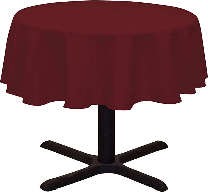 LinenTablecloth Round Cotton Feel Tablecloth 51 Inch Burgundy