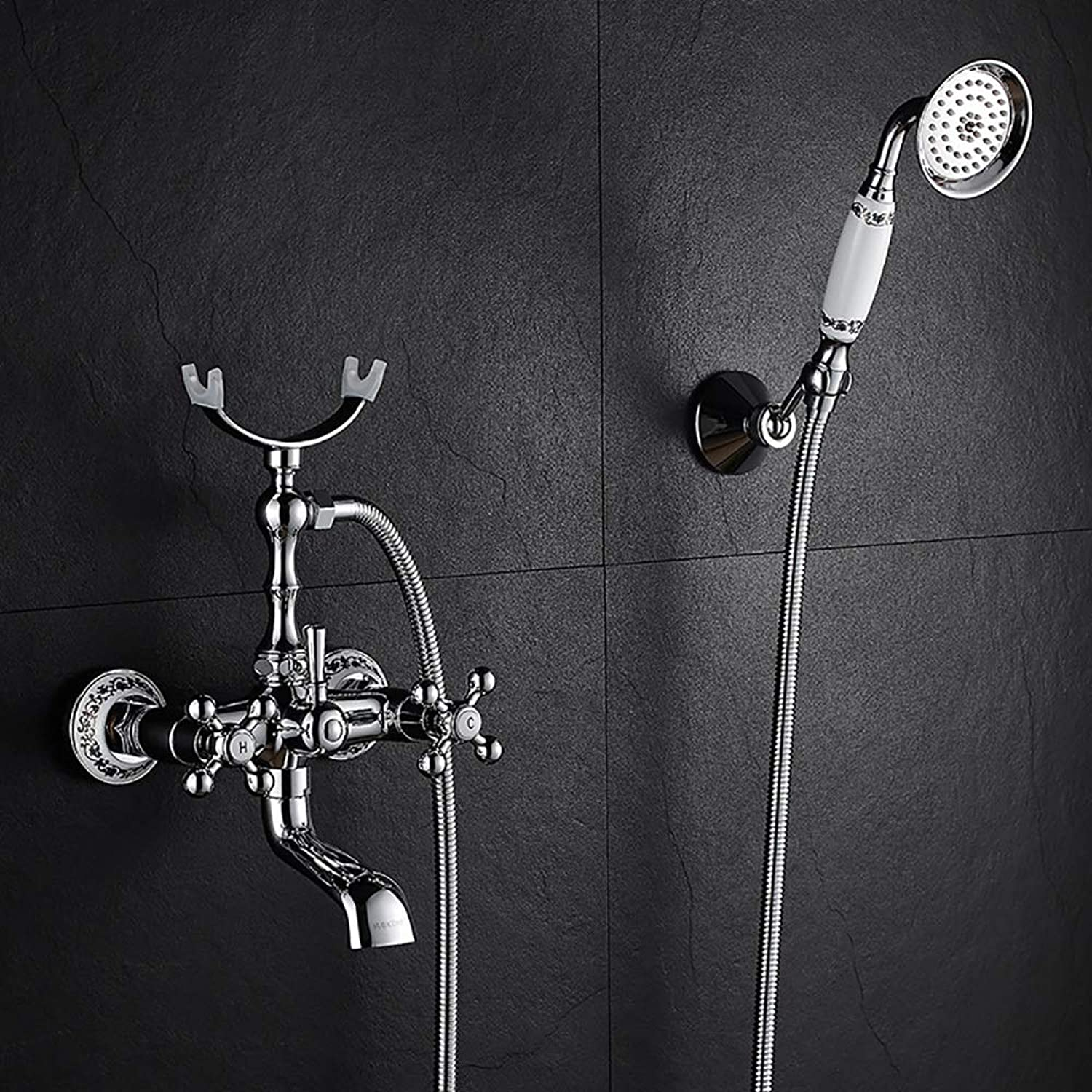 YYF-SHOWER Shower Systems European Shower Set, Wall-mounted All Bronze Hand Shower Bathroom Cold hot Water Tap, 8 Styles (color   Silver, Size   C)