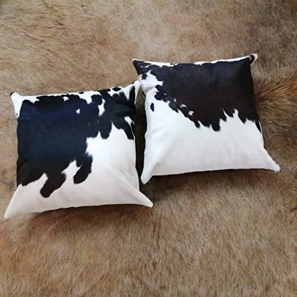 Artistic Cowhide Cushion Covers Set Of Two Black And White 16x16 In Cowskin Pillowcase