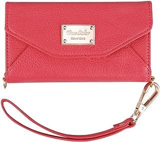 iPhone Wallet Case, True Color Premium Leatherette Wristlet Clutch Folio Tri-Fold Wallet Purse Case Cover Coral Pink For iPhone 8 Plus