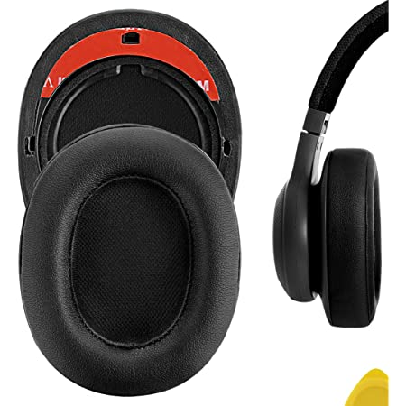 Geekria QuickFit Protein Leather Ear Pads Compatible with JBLs E55BT Headphones Earpads, Headset Ear Cushion Repair Parts (Black)