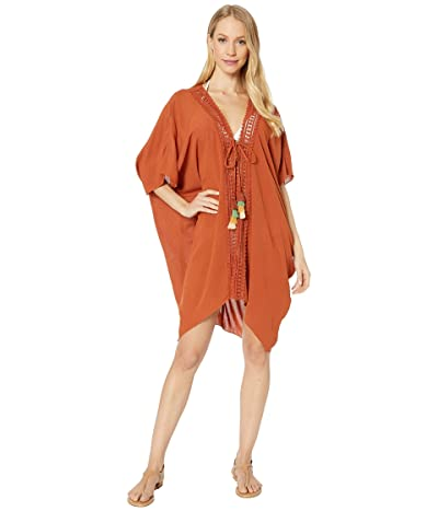 BECCA by Rebecca Virtue Globe Trotter Crinkled Rayon Kimono Robe Cover-Up (Spice) Women