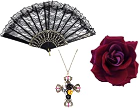 Gothic Day Of Dead Flamenco Dark Red Rose + Black ...