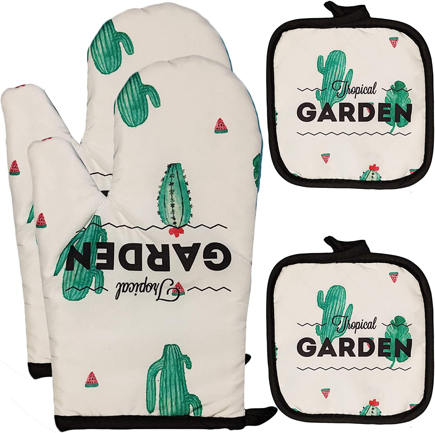 FSTIKO Garden Cactus Oven Mitts and Potholders 4 Pieces Set, Kitchen Linen Set BBQ Gloves-Oven Mitts High Heat Resistant Cotton Potholder for Cooking Baking Grilling