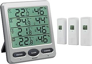 Neoteck LCD Thermomètre Hygromètre Station Méteo sans Fil avec 3 Capteurs de Télécommande Intérieur/Extérieur Température ...