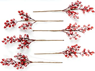 """CraftMore Snowy Red Berry Pick 16"""" Set of 6"""
