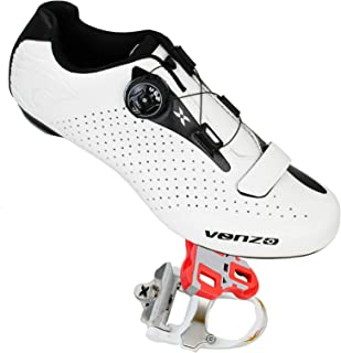 Venzo Cycling Bicycle Cycle Road Bike Shoes Men - Compatible with Shimano SPD, SPD SL, Look KEO, Look Delta - Package Including: Xpedo RF07MC Pedals White