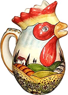 CERAMICHE D'ARTE PARRINI- Ceramica italiana artistica, brocca vino,decorazione paesaggio girasoli, dipinto a mano, made in...