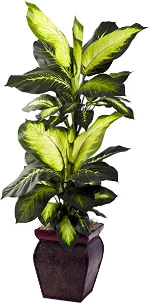 Nearly Natural Golden Dieffenbachia With Decorative Planter Green