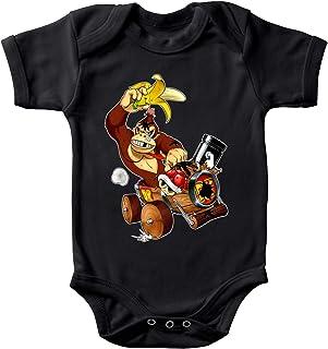 OKIWOKI Mario Kart - Donkey Kong Lustiges Schwarz Baby Strampler - Donkey Kong Mario Kart - Donkey Kong Parodie Ref:666