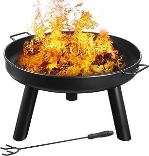 femor Feuerschale Durchmesser60cm mit Griffen, Abnehmbar Metall Feuerkorb mit Feuergabel, Terrasse Garten Multifunktional Fire Pit für Heizung/BBQ mit Kleinem Gerät zu Installieren