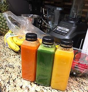 "Empty Clear Plastic Juice Bottles Milk Bottles Food Grade BPA FREE with Black Tamper Evident caps 16 oz. plus 10"" straws - white labels - 8 sets - 8 juice bottles with lids -8 straws -8 white labels."