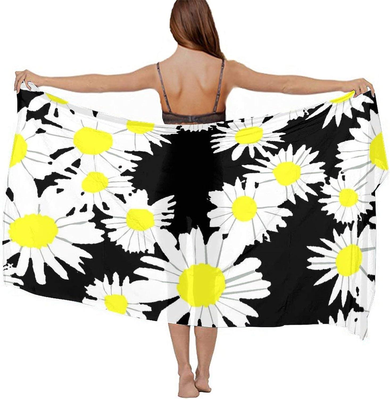 Women's Chiffon Spring Daisy Flower Beach Scarf Smooth Sunscreen Wrap Shawl Scarves Bikini Cover-Up Wrap Scarf Swimsuit Sarongs Summer Beach Cover Ups