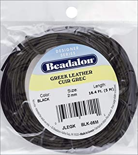 (Black 2mm) - Beadalon Greek Round Leather Lace, 5m