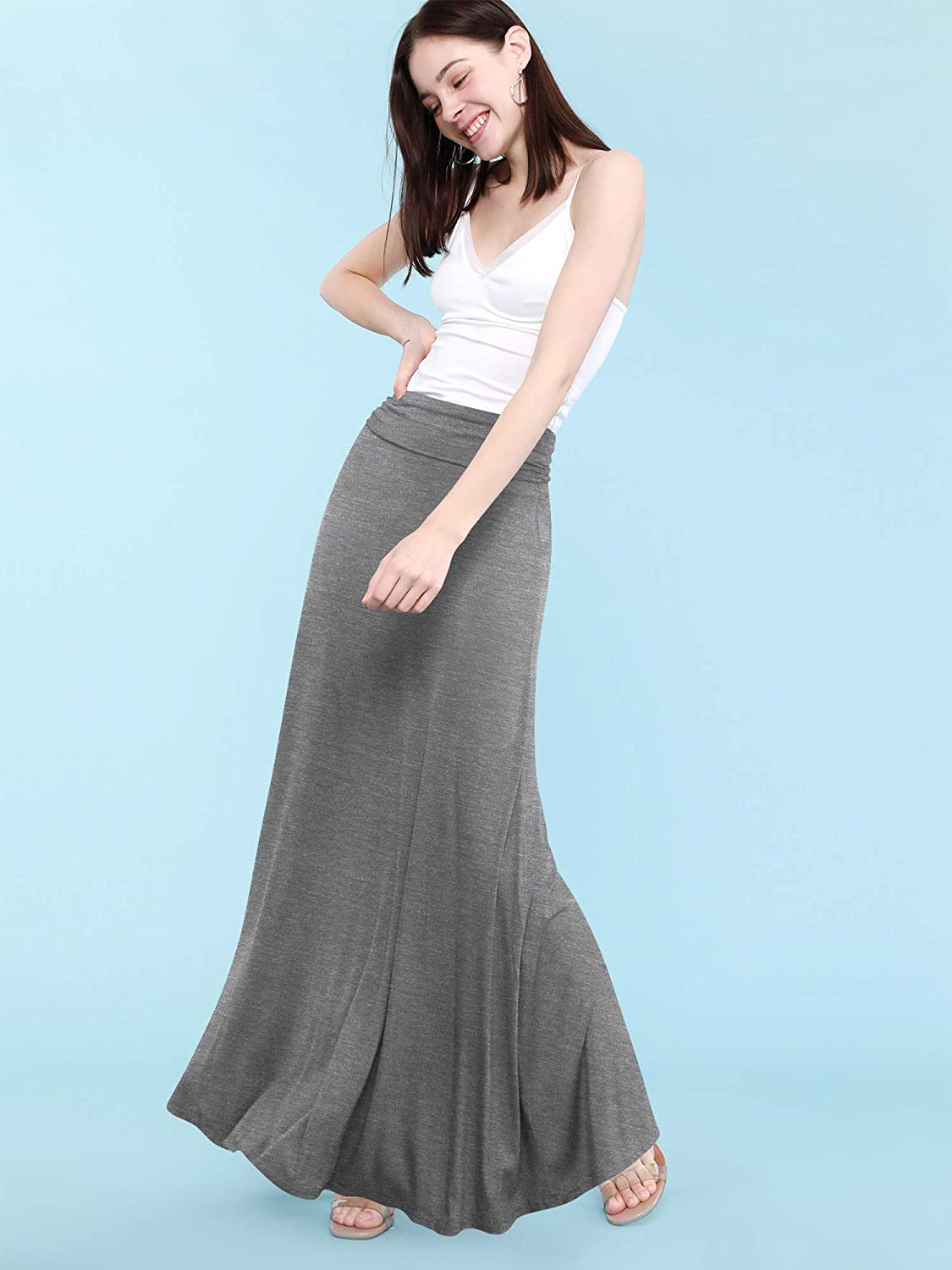 Made By Johnny Women's Solid Basic Lightweight Floor Length Maxi Lounge Skirt (S~3XL)