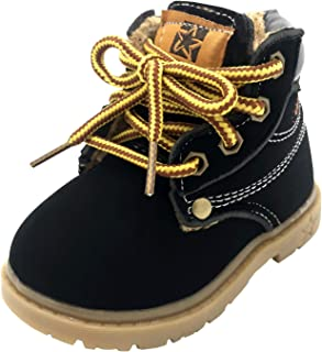 lakiolins Baby Boys' Girls' Work Boots Lace-Up Ankle Boots Winter Snow Boots Martin Boots