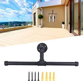 T‑Bar Pipe Hanger, Anti-Rust 19inch Cast Iron Retro Style Black Wall Hanger, for Retail Store Home