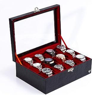 0381dc8a5b0 Porta-Relógios Total Luxo Couro Ecológico Preto Vermelho 12 Divisórias  Maiores (3x4)