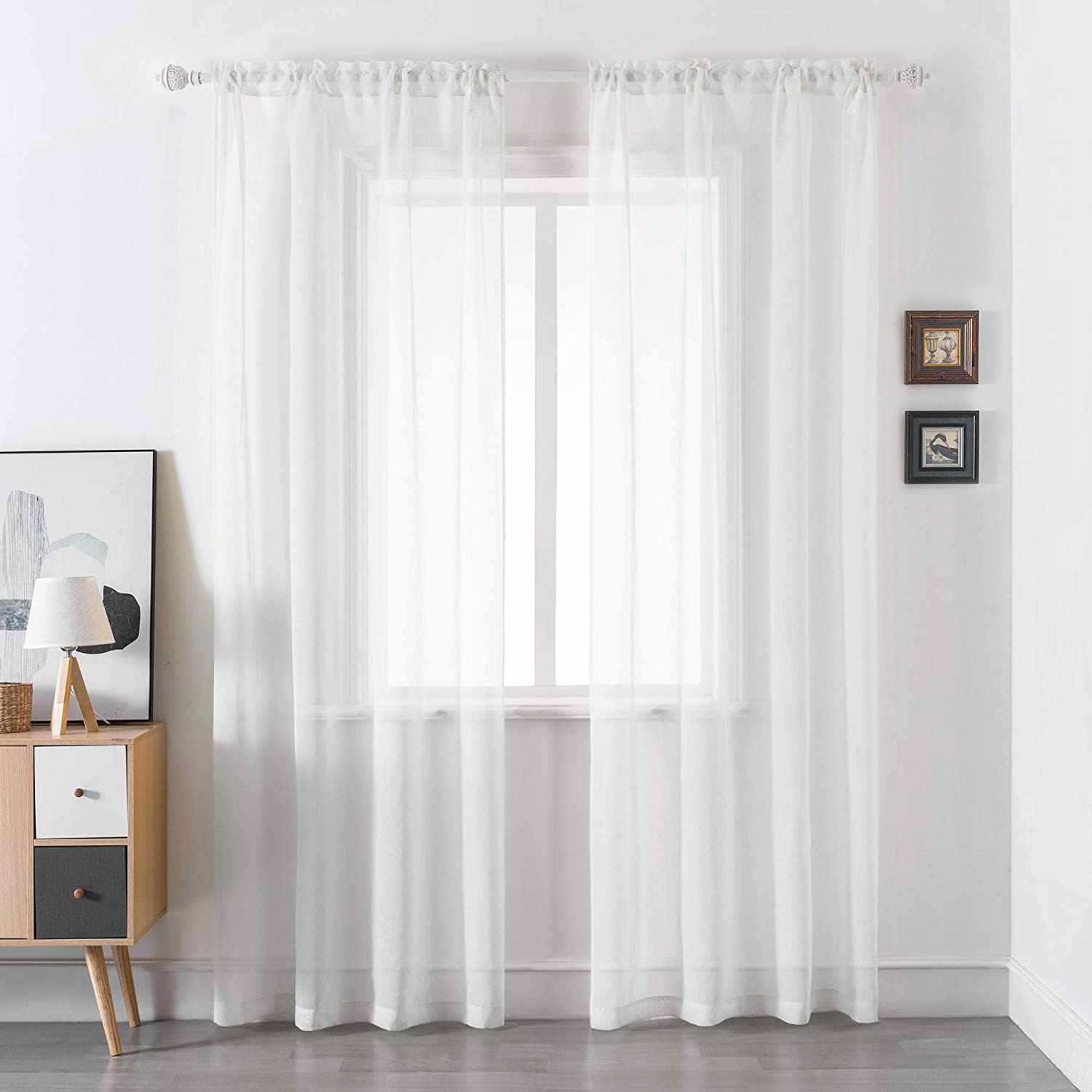 DUALIFE White Sheer Curtains 72 Inches Long 2 Panels for Bedroom - Basic Home Decoration Solid Faux Linen Privacy Voile Curtains Rod Pocket (52 Wide x 72 inch Length) Assorted Colors & Sizes