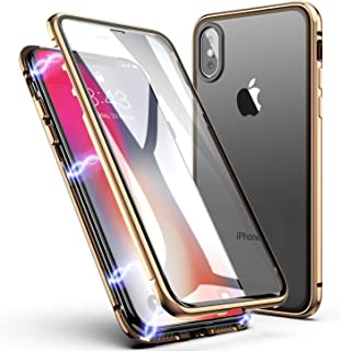 iPhone X Case, iPhone Xs Case, ZHIKE Magnetic Adsorption Case Front and Back Tempered Glass Full Screen Coverage One-Piece Design Flip Cover [Support Wireless Charging] for Apple iPhone X/XS (Golden)