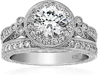 Platinum or Gold Plated Sterling Silver Antique Style Ring Set made with Swarovski Zirconia