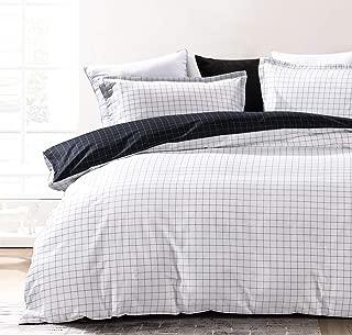 SLEEPBELLA Grid Duvet Cover Set Queen Off-White 100% Cotton Bedding Black Grid Geometric Printed on White Button Closure