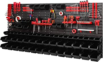 Opslagsysteem werkplaatsrek 1728 x 780 mm - wandrek met gereedschapshouder en 64 zwarte stapelboxen - wandplaten schuttenrek