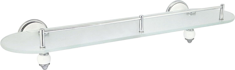 MODONA 20  Frosted Glass Shelf with Pre-Installed Rail - White Porcelain & Chrome - Arora Series - 5 Year Warrantee