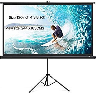 Projector Screen Protable 120 inch Diagonal Projection HD 4:3 Projection Pull Up Foldable Stand Tripod,244 X 183cms