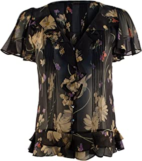 Women's Short Sleeve Ruffled Floral Silk Blouse
