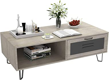 Mecor Modern Coffee Table with 1 Drawer and 2 Storage Shelf for Living Room, Rectangular Center Tea Table with V Style Metal