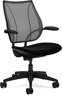 Liberty Chair by Humanscale - Black Frame - Foam Seat - Fixed Duron Arms - Black Vellum Seat - Carbon Monofilament Back