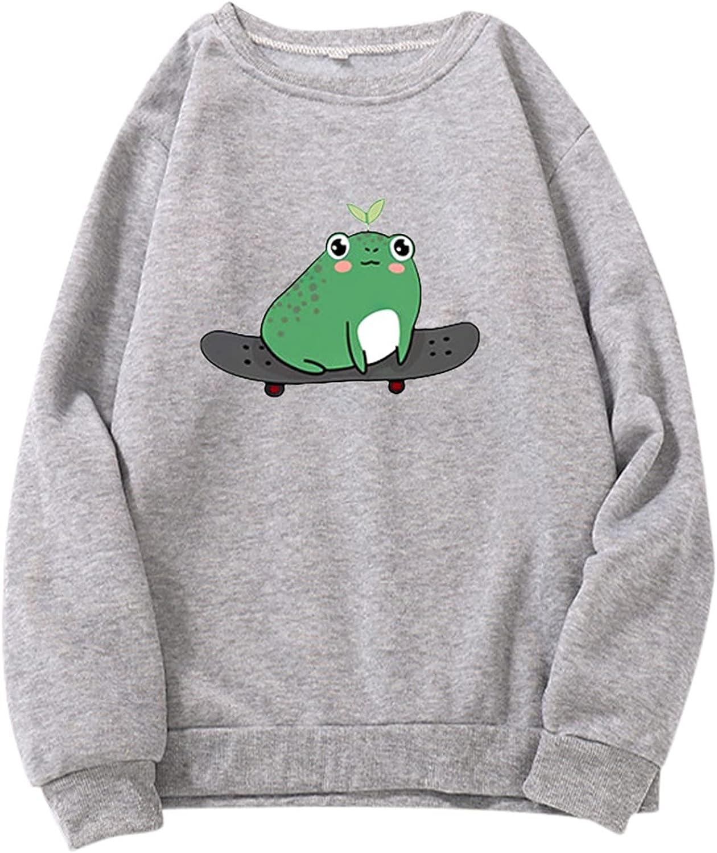 Womens Frog Sweatshirts Casual Long Sleeve Skateboard Frog Print Pullover Tops Sweatshirt Kawaii Lotus Leaf Frog Blouse