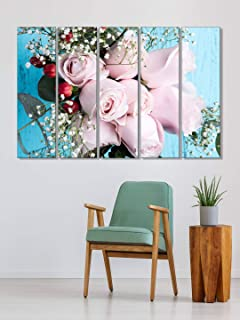999Store vases home decor items wall frame for bedroom Pink roses wall art panels hanging painting Set of 5 frames (130 X ...