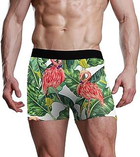 Slip da Uomo Bulge Pouch Tropical Leaf Pattern Animal Bird Flamingo Stretch Boxer Trunk