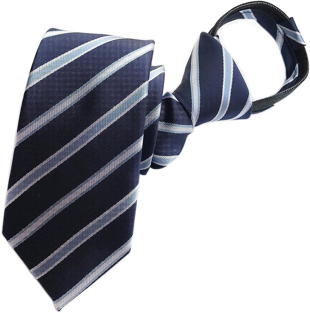 Men's Big Boys Zip Ties Business Wedding Solid Check Stripe Slim Pre-tie Necktie
