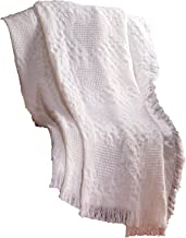 Manual 46 X 60-Inch Basketweave Heart 2-Layer Cotton Throw Blanket, White