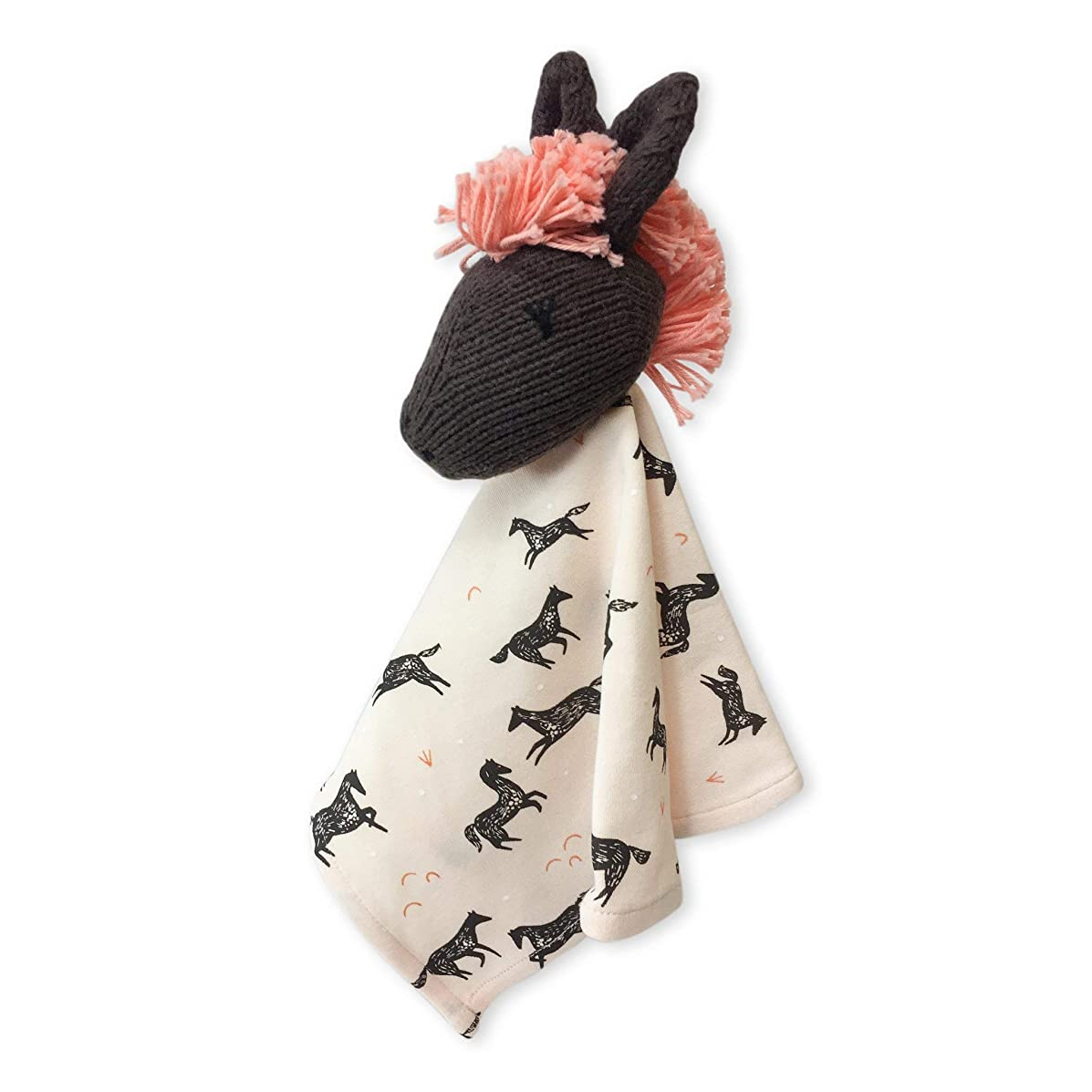 Finn + Emma Rattle Lovie Organic Cotton Knit Comfort Toy for Baby Boy or Girl – Molly The Horse